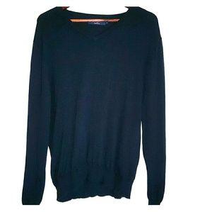 J.Crew navy v-neck cotton sweater large